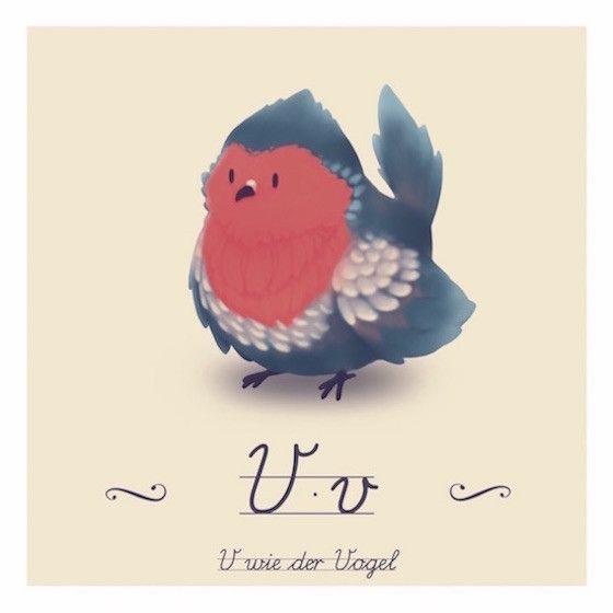 in diesem buchstabenprint hat unser kleiner vogel seinen