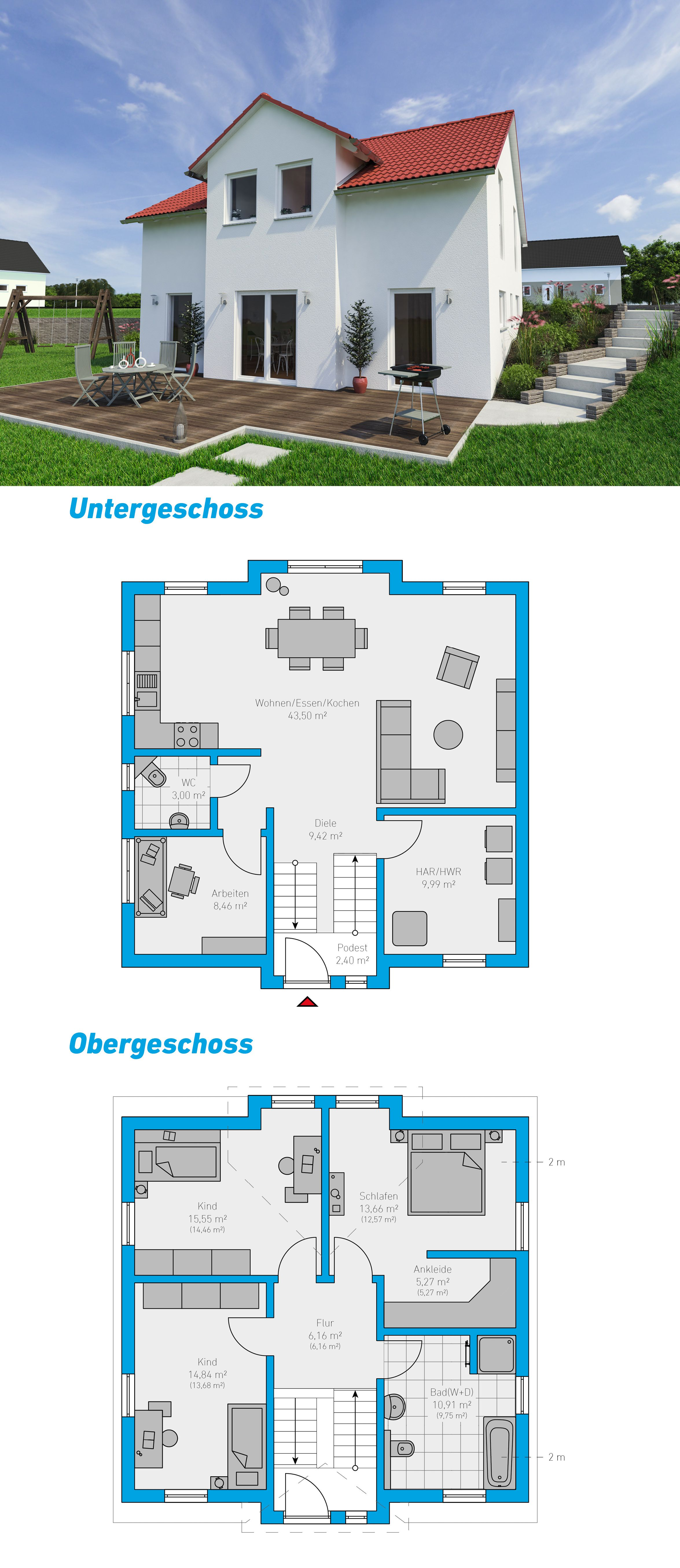 Montis 143 schlüsselfertiges Massivhaus Hanghaus
