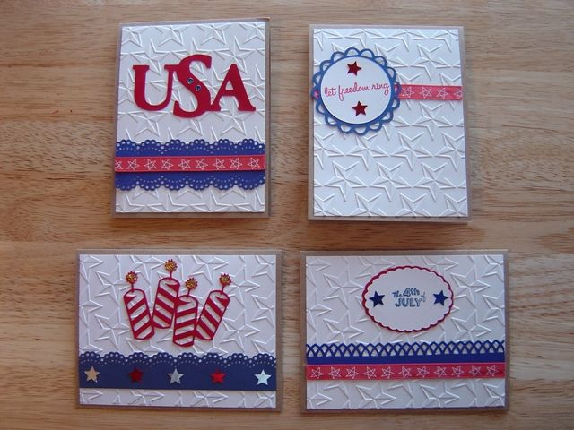 4th Of July Cards Using Cricut Cuttlebug With Images Cards
