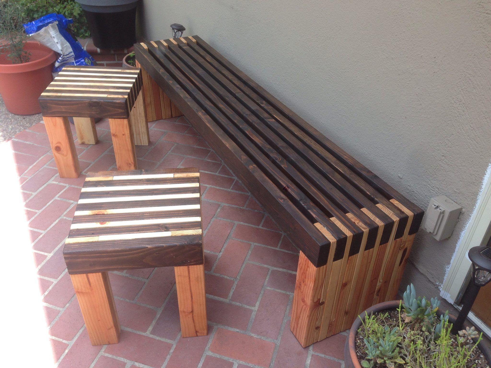 Bench and side tables diy bench outdoor wood bench