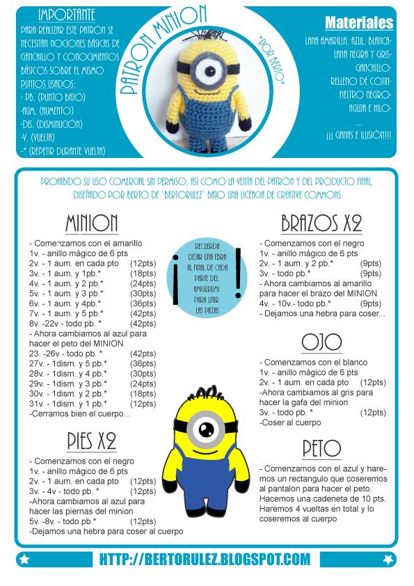 patron-minion1.png (595×842) | Patrones | Pinterest | Amigurumi ...
