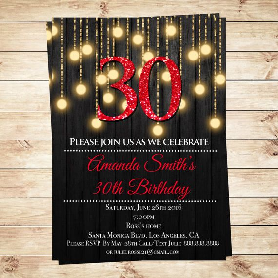 Instant Download Printable 30th Birthday Invitations Editable Text Elegant Party Gold And Red Lights