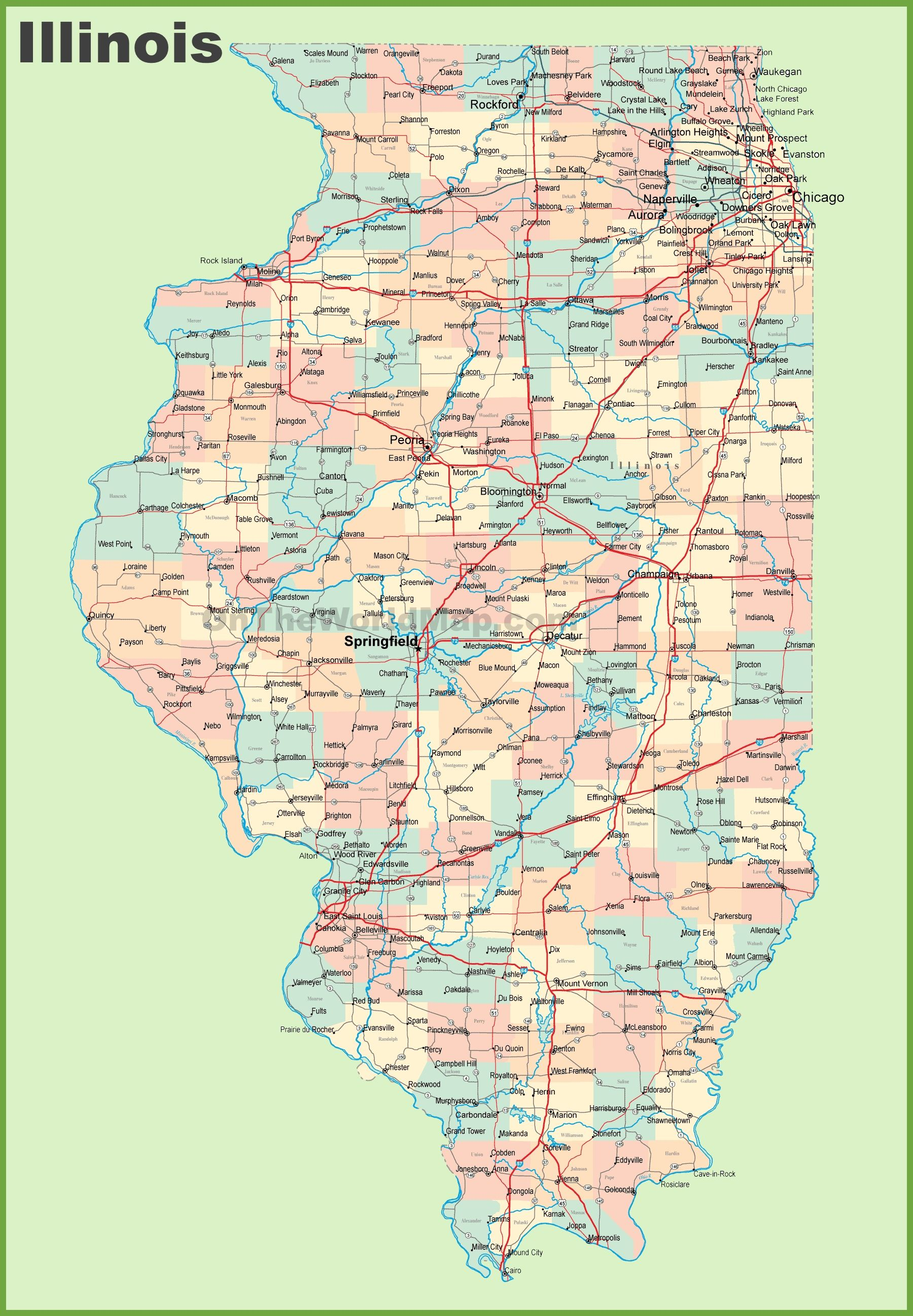 Map of Illinois with cities and towns | Highway map, Us ...