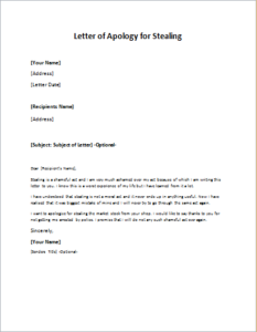 Apology Letter Sample To Boss Adorable Letter Of Apology For Stealing Download At Httpwriteletter2 .