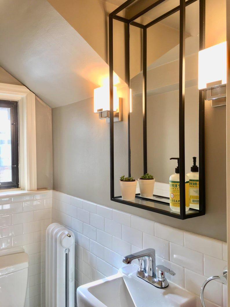 Bathroom Shelf Mirror | Modern Industrial Black Steel ...