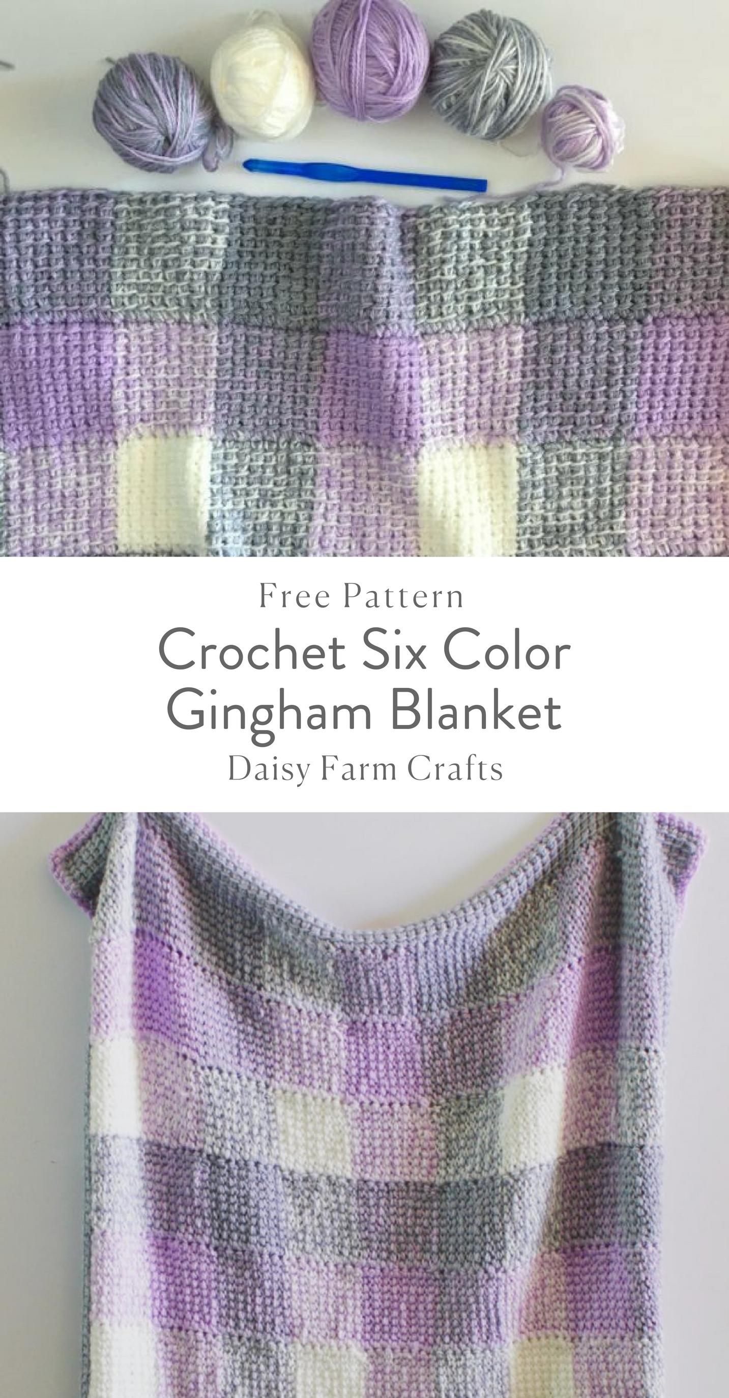 Free Pattern - Crochet Six Color Gingham Blanket | Crochet blankets ...