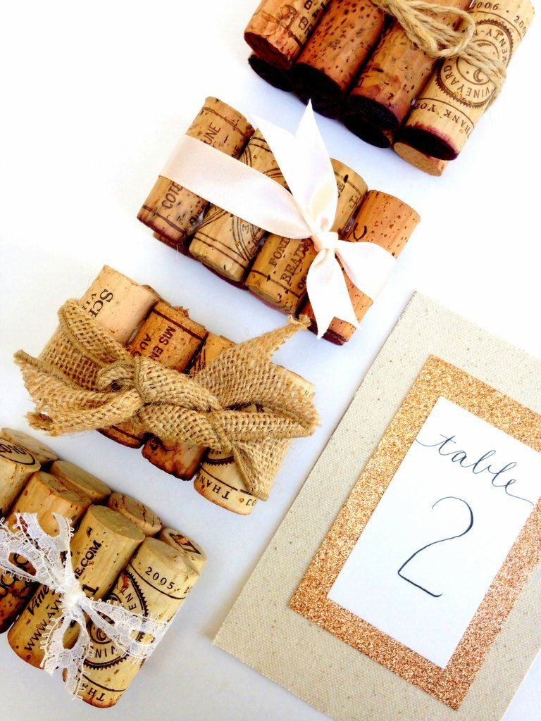 Rustic Wedding Table Number Holder Featuring 8 Vintage Corks