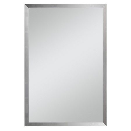 Rectangular Beveled Decorative Wall Mirror Silver