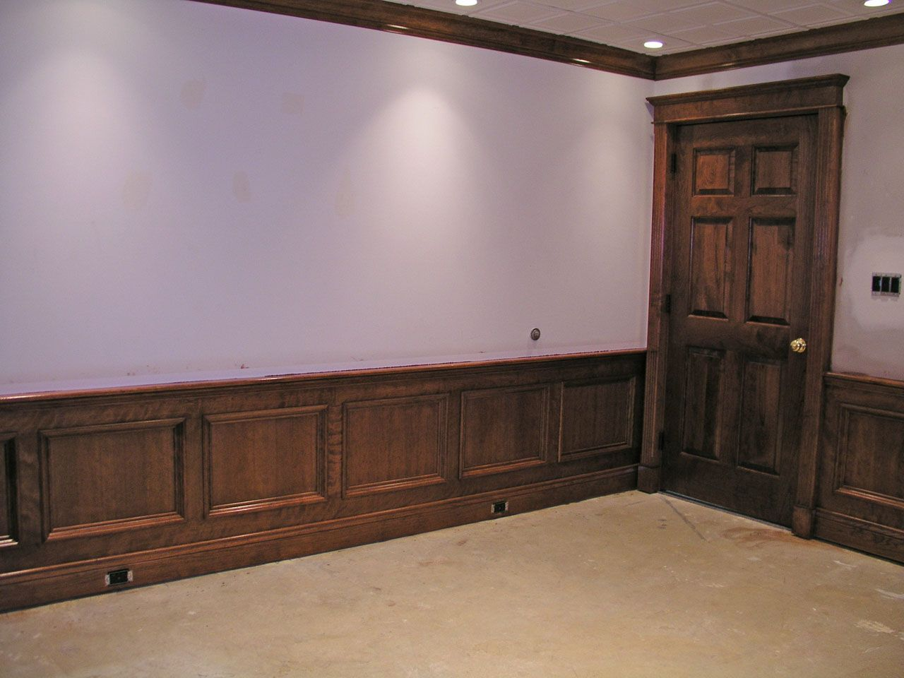 Walls With Stained Wood Wainscoting