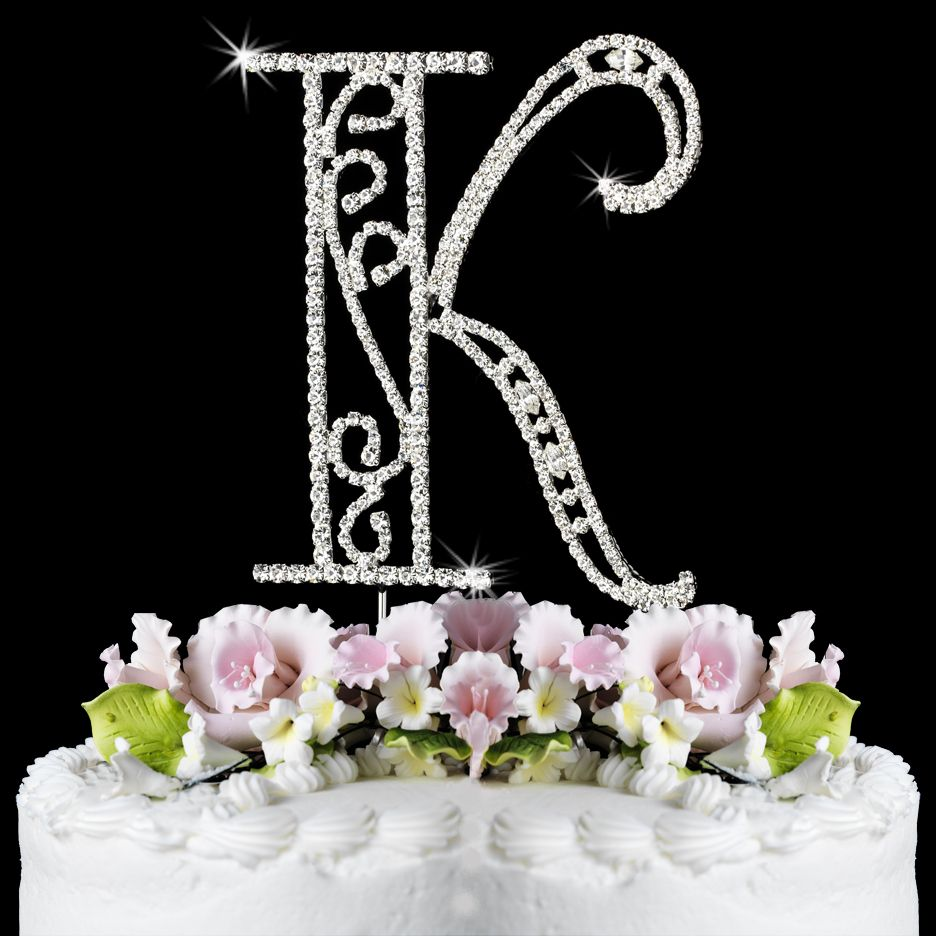 Cake Toppers Letters : Romanesque Cake Letter in Crystals - Initial Cake Topper ...