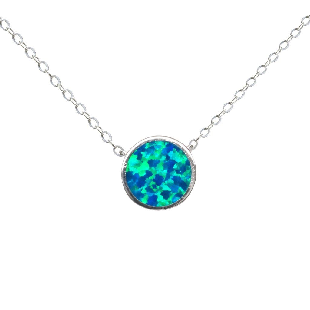 Bewitch every eye with this hypnotically attractive Delicate Circle Fire Opal Mini Necklace! With its striking pendant of aquamarine Fire Opal and shimmering...