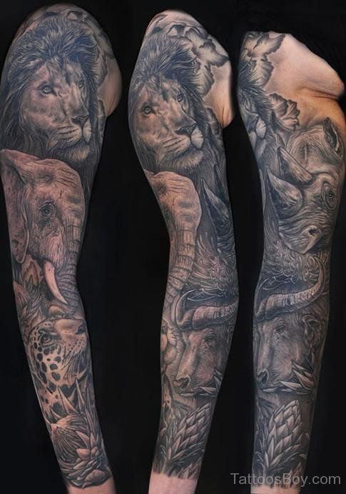 Tattoos Animals Tattoos Elephant Tattoos Full Sleeve Tattoos Lion African Sleeve Tattoo Tattoo Sleeve Designs Animal Sleeve Tattoo