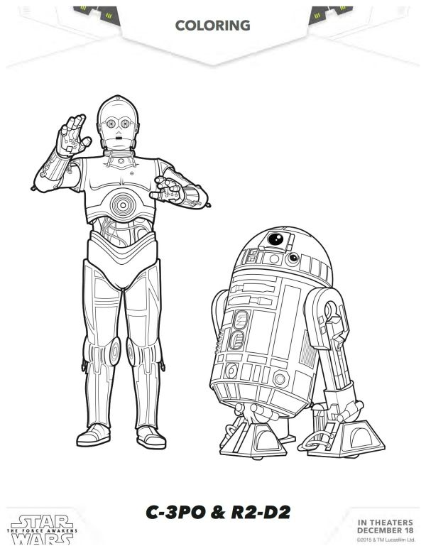 star wars the force awakens c 3po r2 d2 coloring page