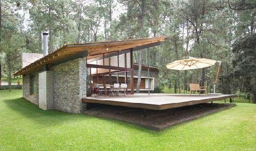 Fachada de casa moderna combinada con fachada de casa de for Casa minimalista economica
