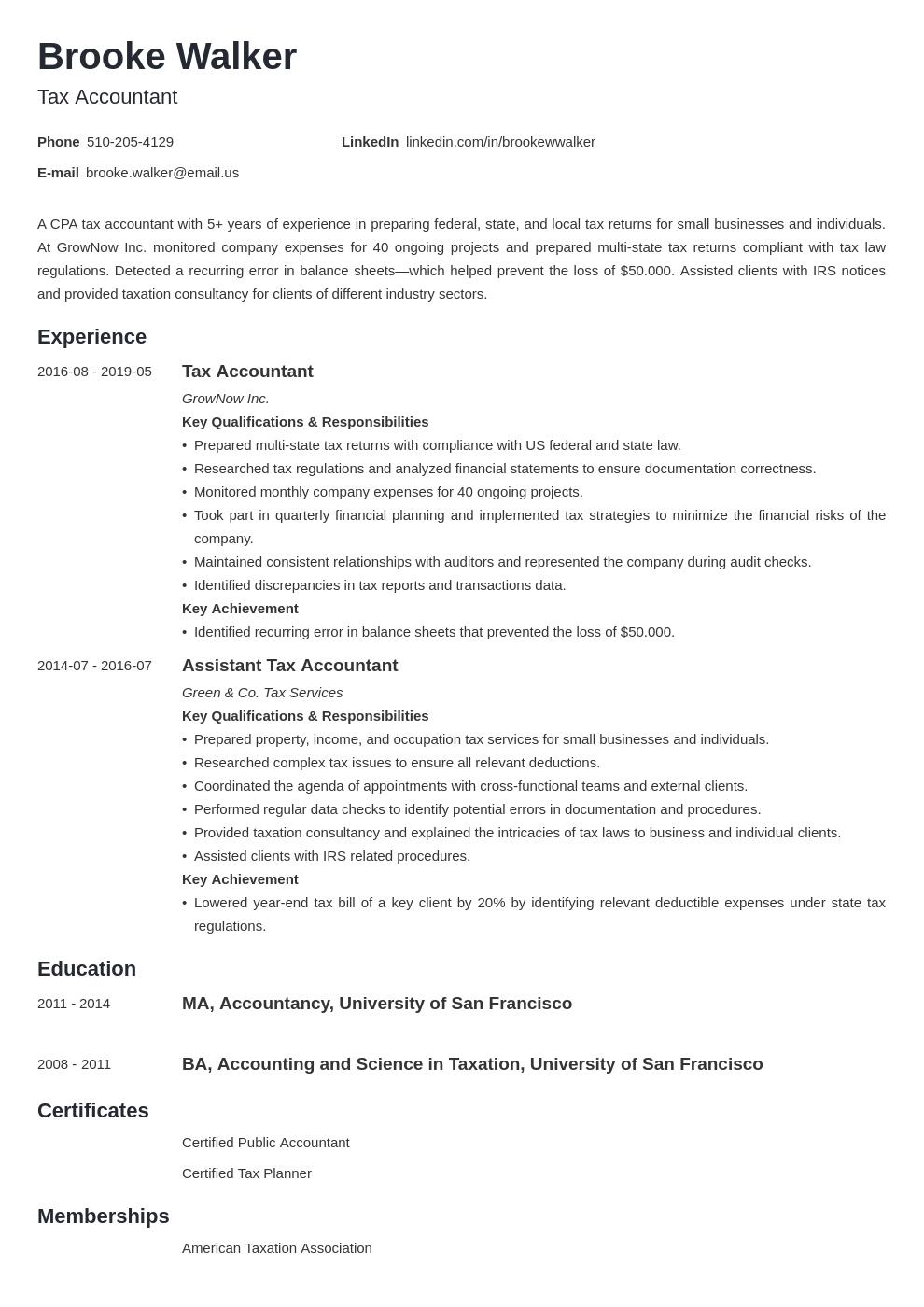 Tax Accountant Resume Example Template Minimo Accountant Resume Resume Examples Job Resume Examples