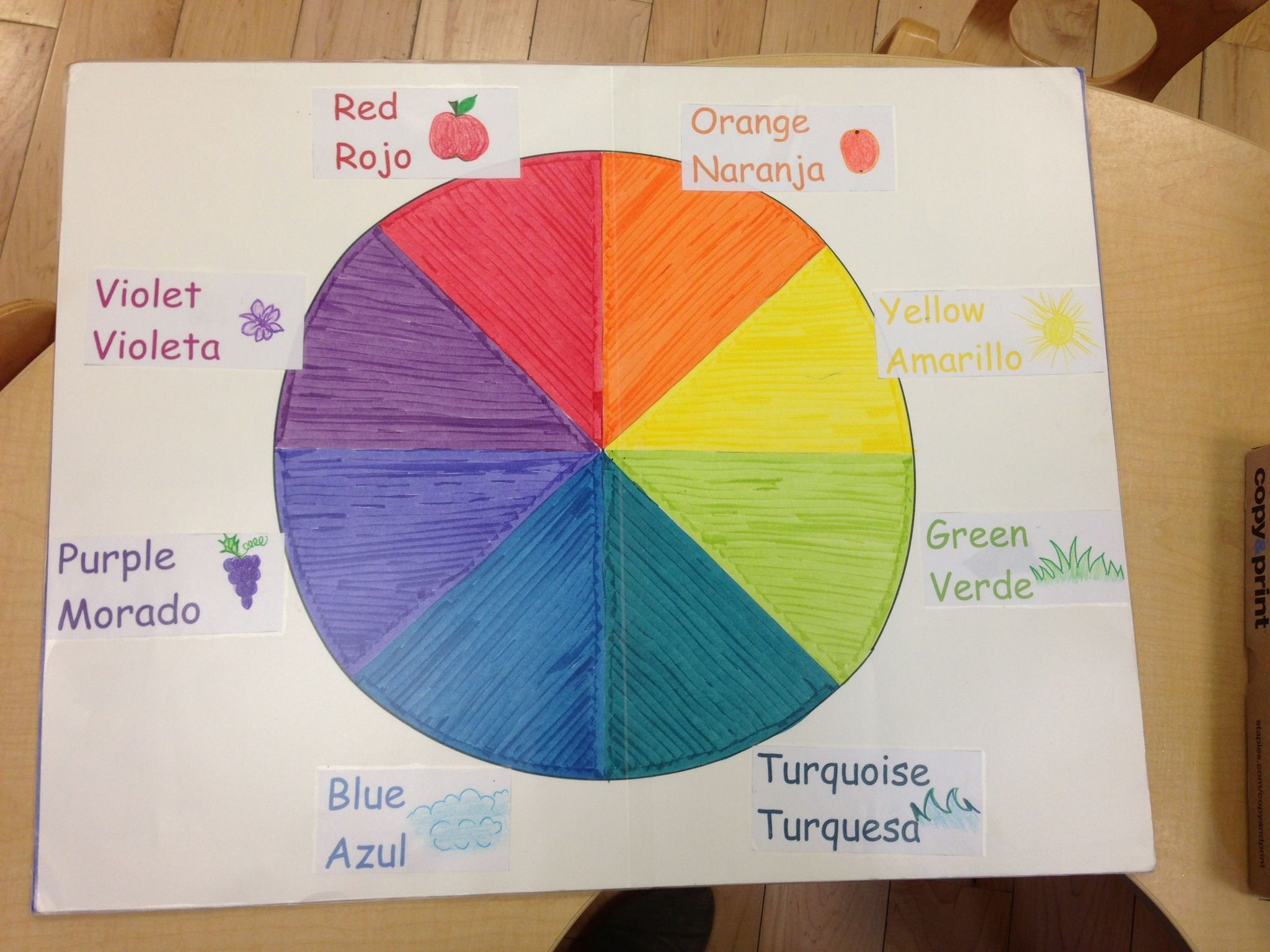 Spanish colors for preschool - Color Chart With English And Spanish Color Names