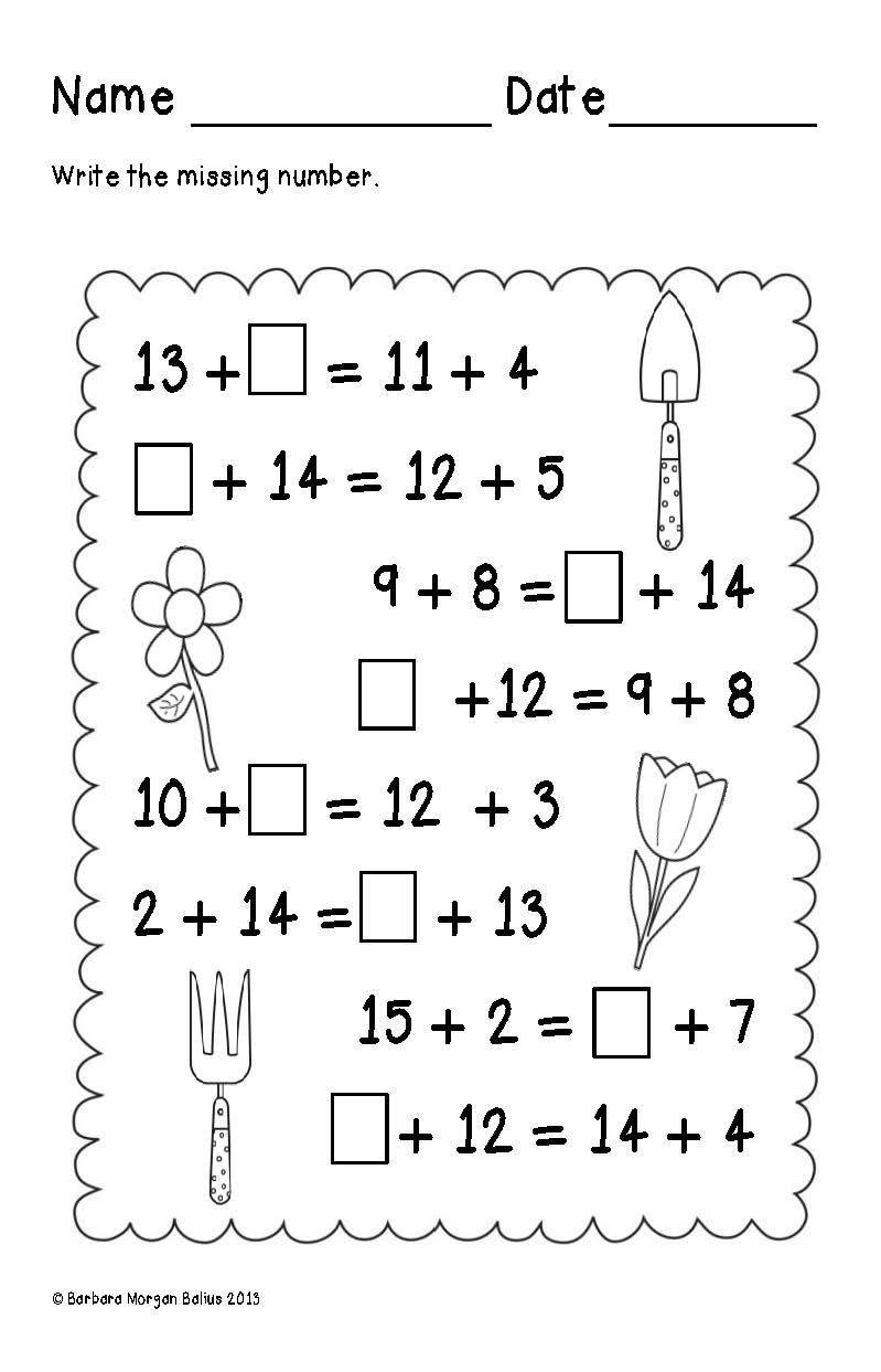 First Grade Math Spring Balancing Equations-Addition 1.OA.3, 1.OA 6 ...