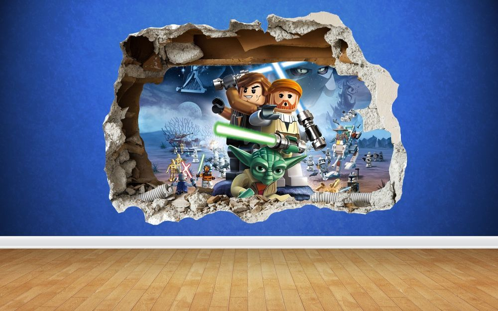 Lego Star Wars 3d Style Smashed Wall Sticker Kids Childrens Bedroom