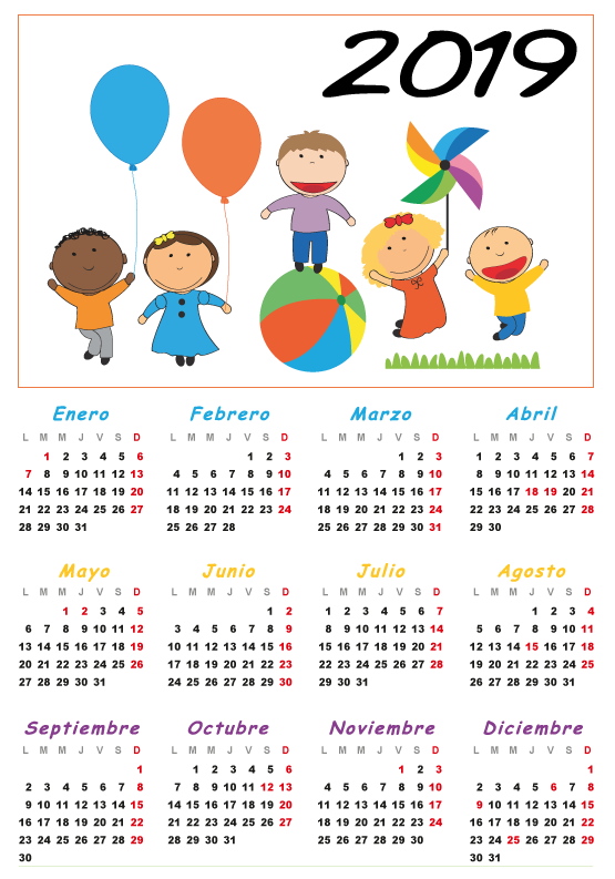 Calendario Para Kinder 2019.Calendario 2019 Para Ninos Espanol Editable Calendarios