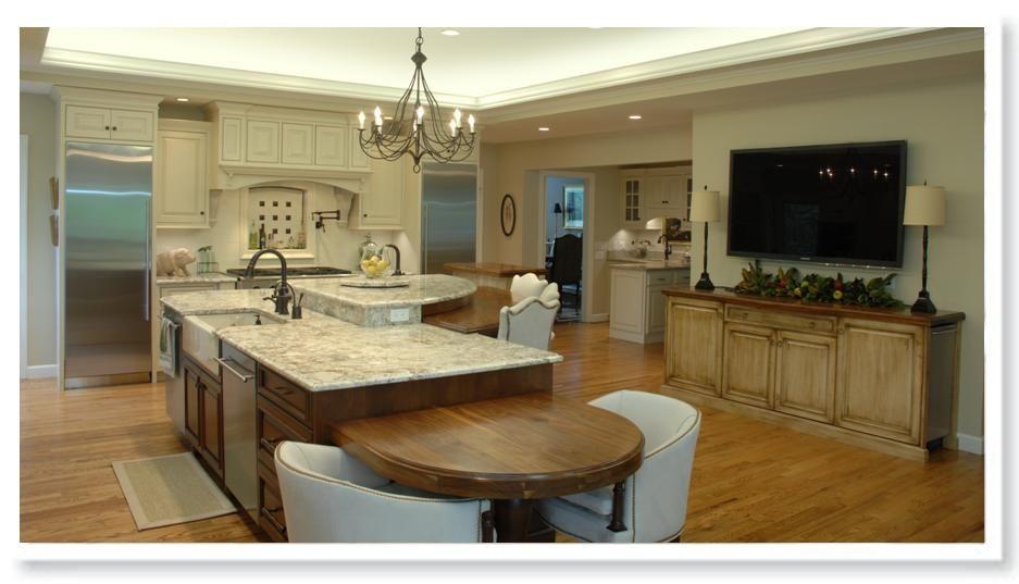 2 level kitchen island | White Kitchen Cabinetry | Elegant ...