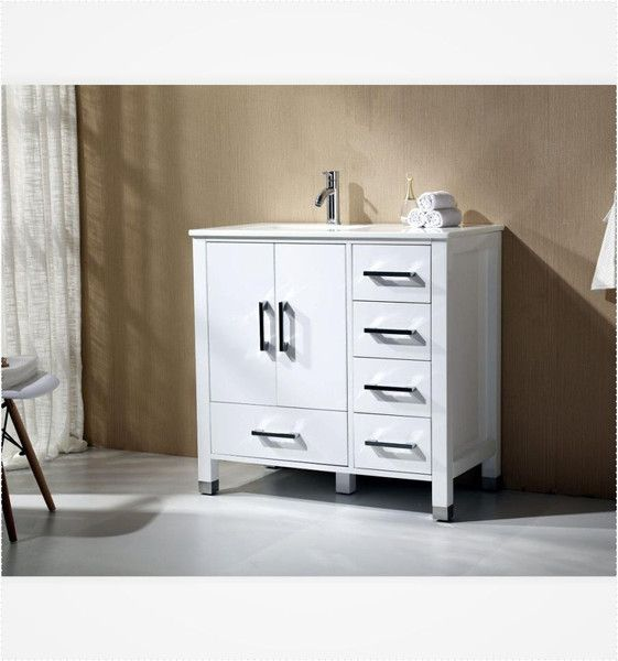 Anziano 40 Inch High Gloss White Bathroom Vanity w/ Quartz Top ...