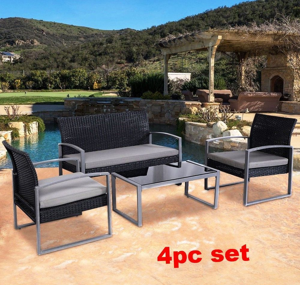 Patio Sofa Set Bistro Cushioned Steel Rattan Seat Coffee Table Loveseat Armchair Patiosofaset Summer Furniture Outdoor Furniture Sets Outdoor Rooms