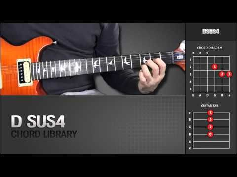 Guitar Chord Library : D Chords - Dsus4 - YouTube | Guitar Chords ...