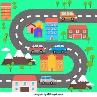 Pequeña Ciudad Plana Con Una Carretera De Curvas Dibujos