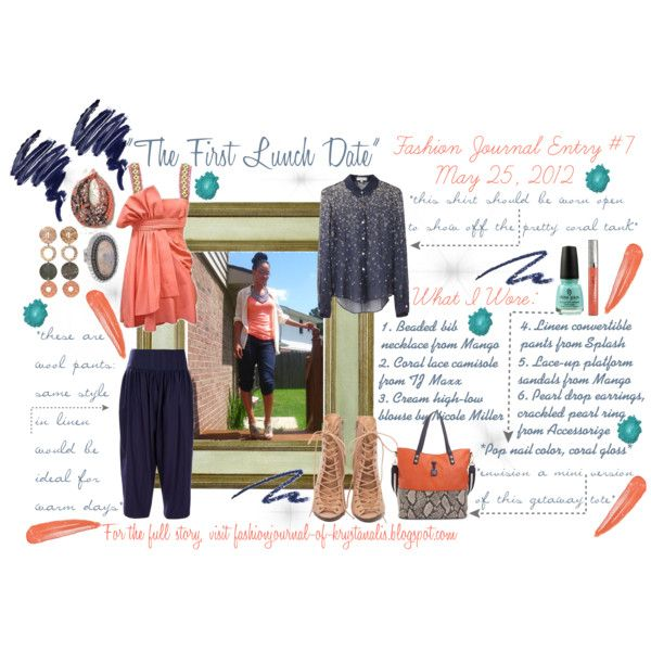 Fashion Journal Entry 7 The Lunch Date Created By Kristenalyce On Polyvore Fashion Journals Fashion Coral Tank