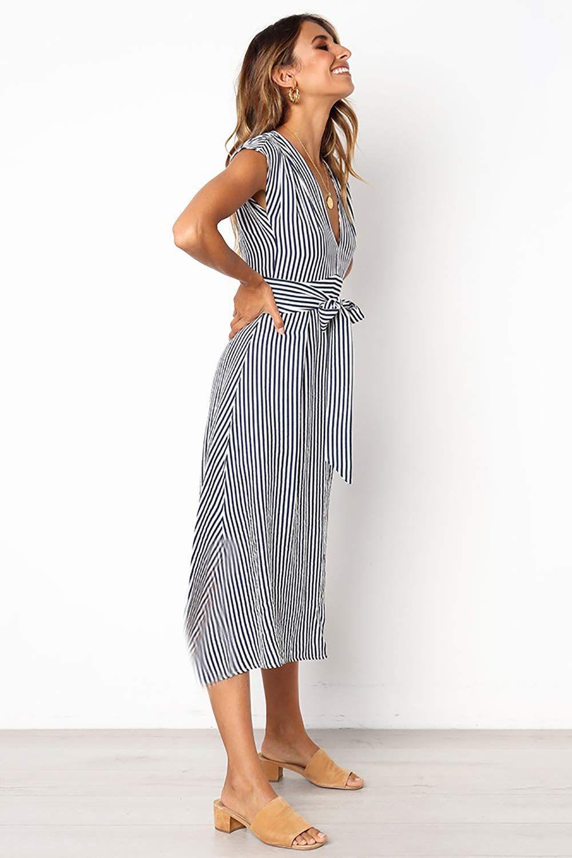 adb85734d53 Alelly Womens Striped V Neckline Bohemian Waist Tie Partially Lined  Sleeveless Midi Dress
