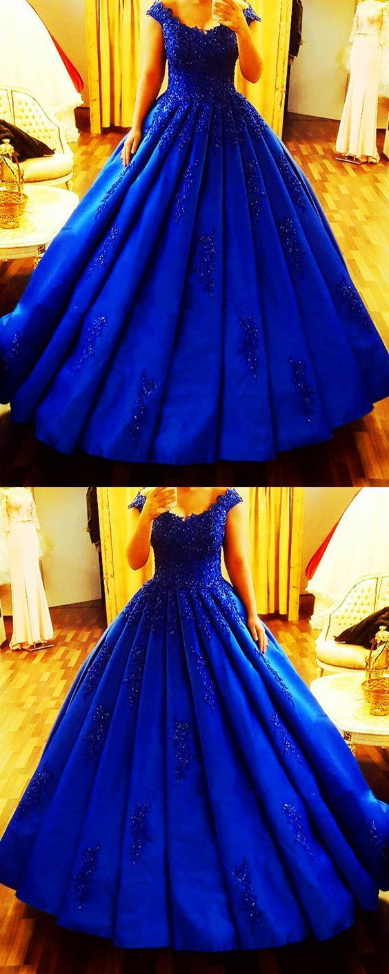 Vintage royal blue satin ball gowns wedding dresses lace cap sleeves