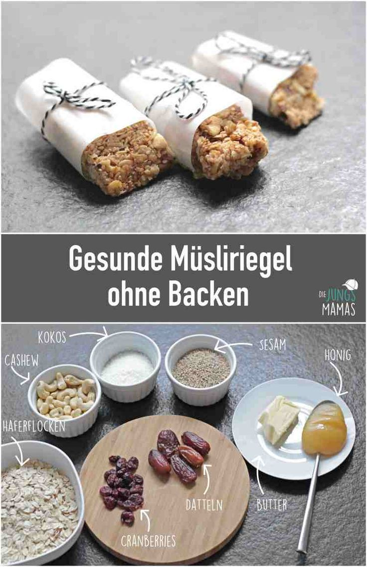 Gesunde Müsliriegel ohne Backen und ohne Zucker ganz leicht selber machen// #müsliriegel #snack // How to make easy granola bars without sugar and baking