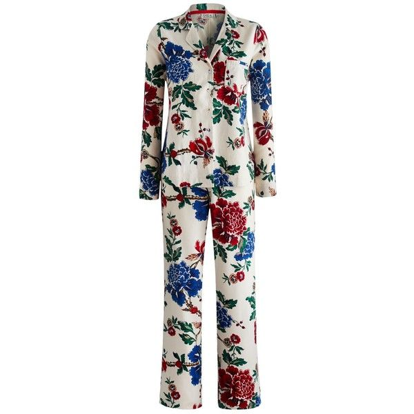 Joules Floral Pyjama Set, Cream Peony ($78) found on Polyvore