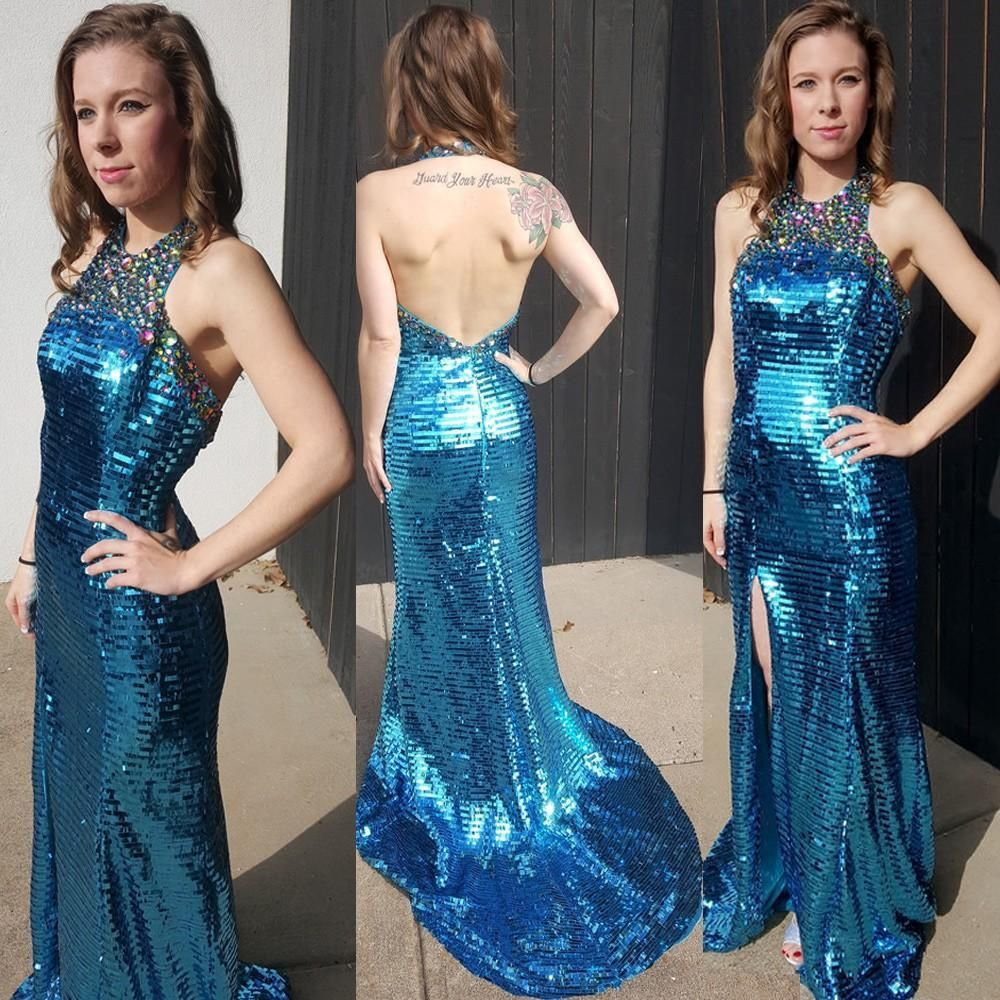 Gorgeous blue sequined mermaid prom dresses split side evening gowns