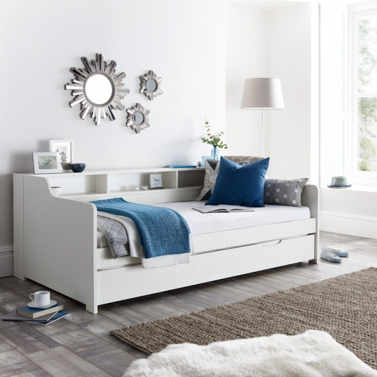 Amazing Tyler White Wooden Day Bed With Guest Bed Trundle In 2019 Bralicious Painted Fabric Chair Ideas Braliciousco