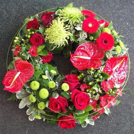 funeral flowers - Modern Red Rose Grouped Wreath