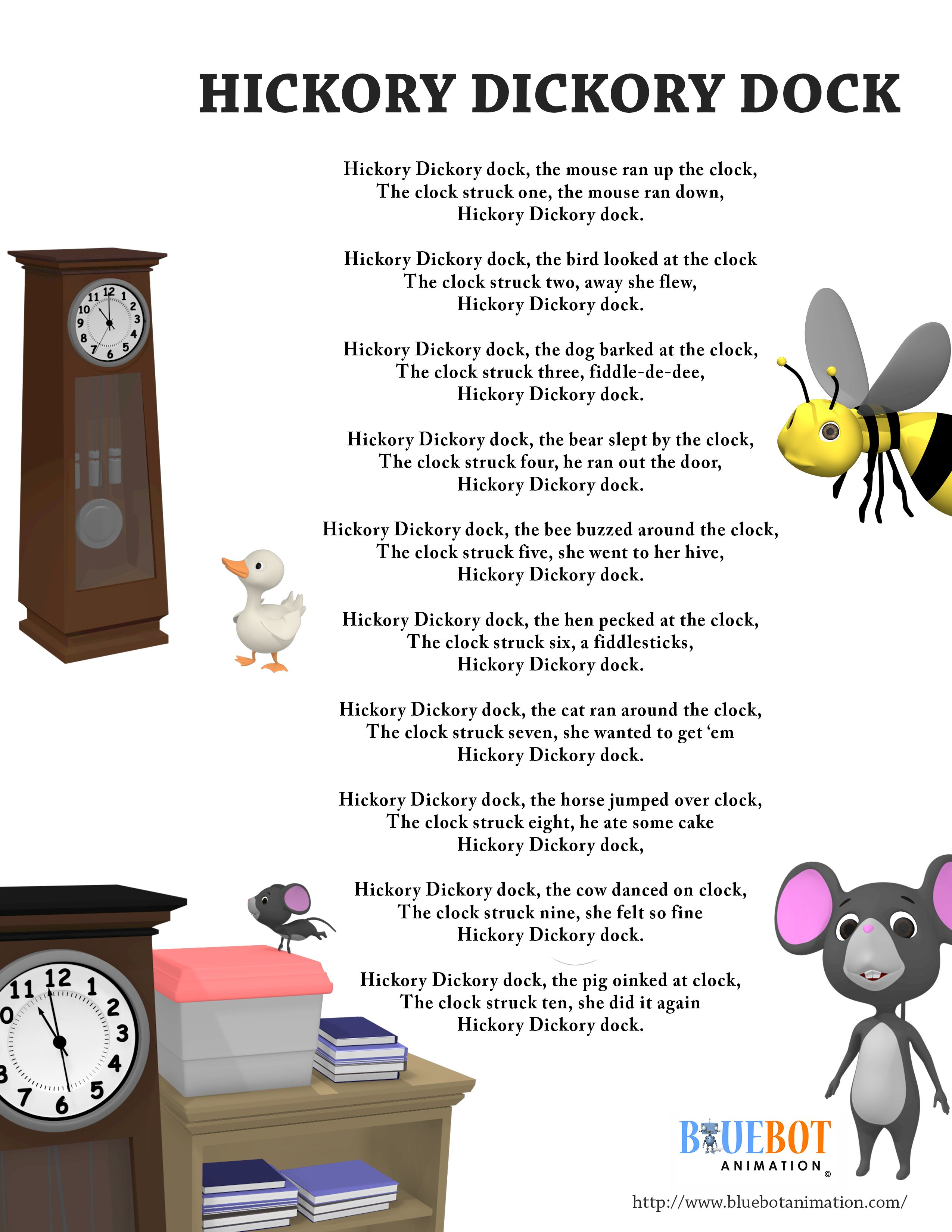Free Printable Nursery Rhyme Lyrics Page Hickory Dickory