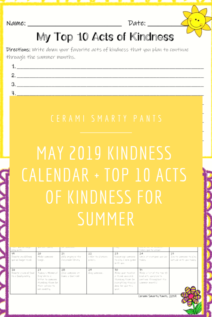 Kids Kindness Calendar February 2020 May Kindness Calendar *Editable* (Updated for 2020!) | Education