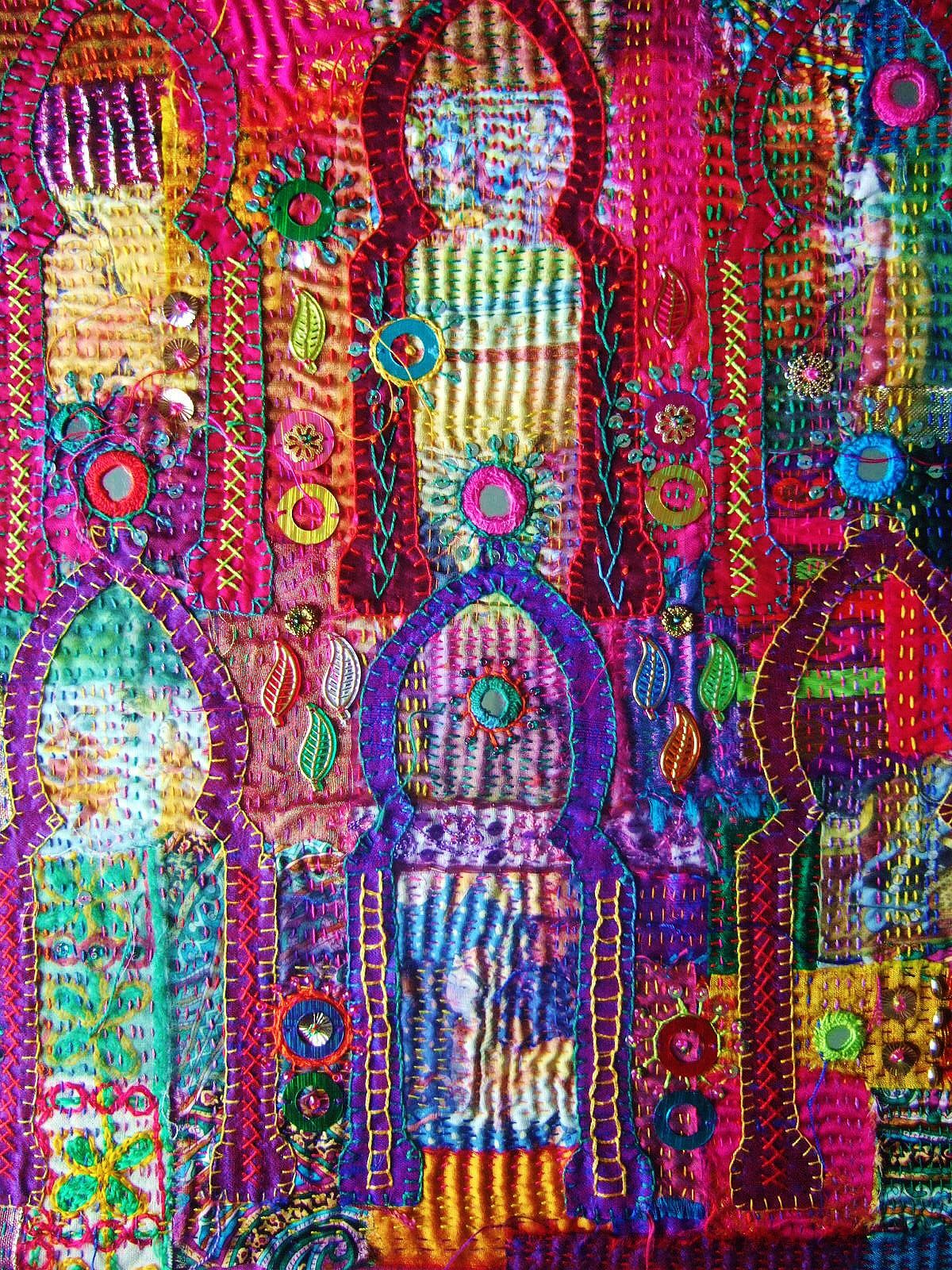 Detail of Indian inspired embroidery. Artist: Bronwyn Fleming