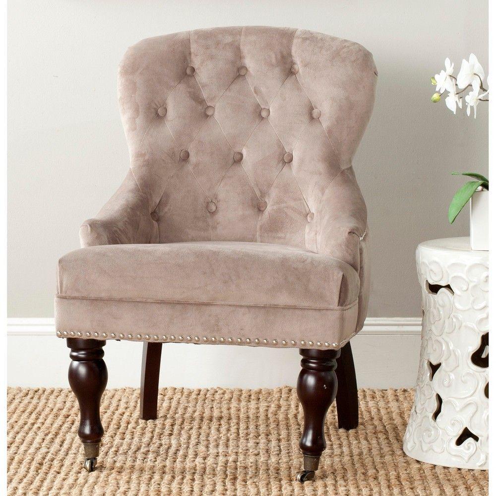 Samanna Arm Chair Taupe - Safavieh, Dark Taupe