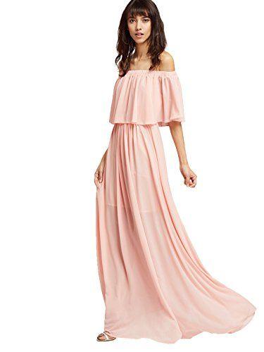 Milumia Women s Off The Shoulder Layered Ruffle Dress (Me...  45d56c127