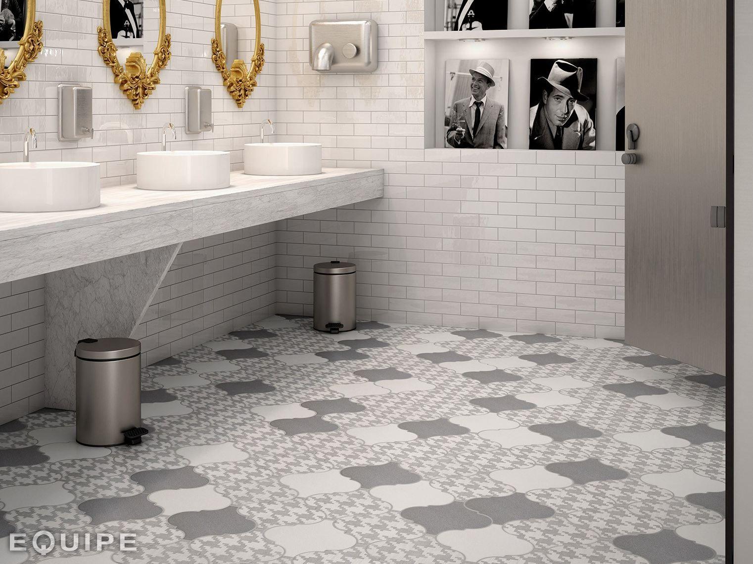 Arabesque Tile Floor Bathroom Grey White 8 Jpg