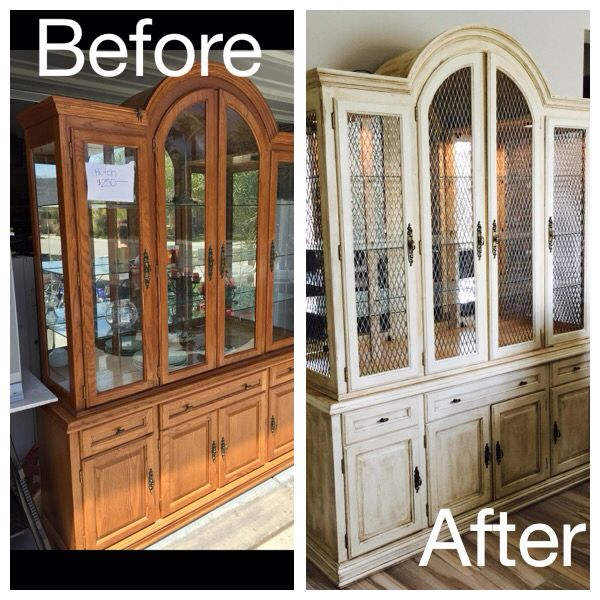 Before And After Of Our Customers Hutch Painted In Old