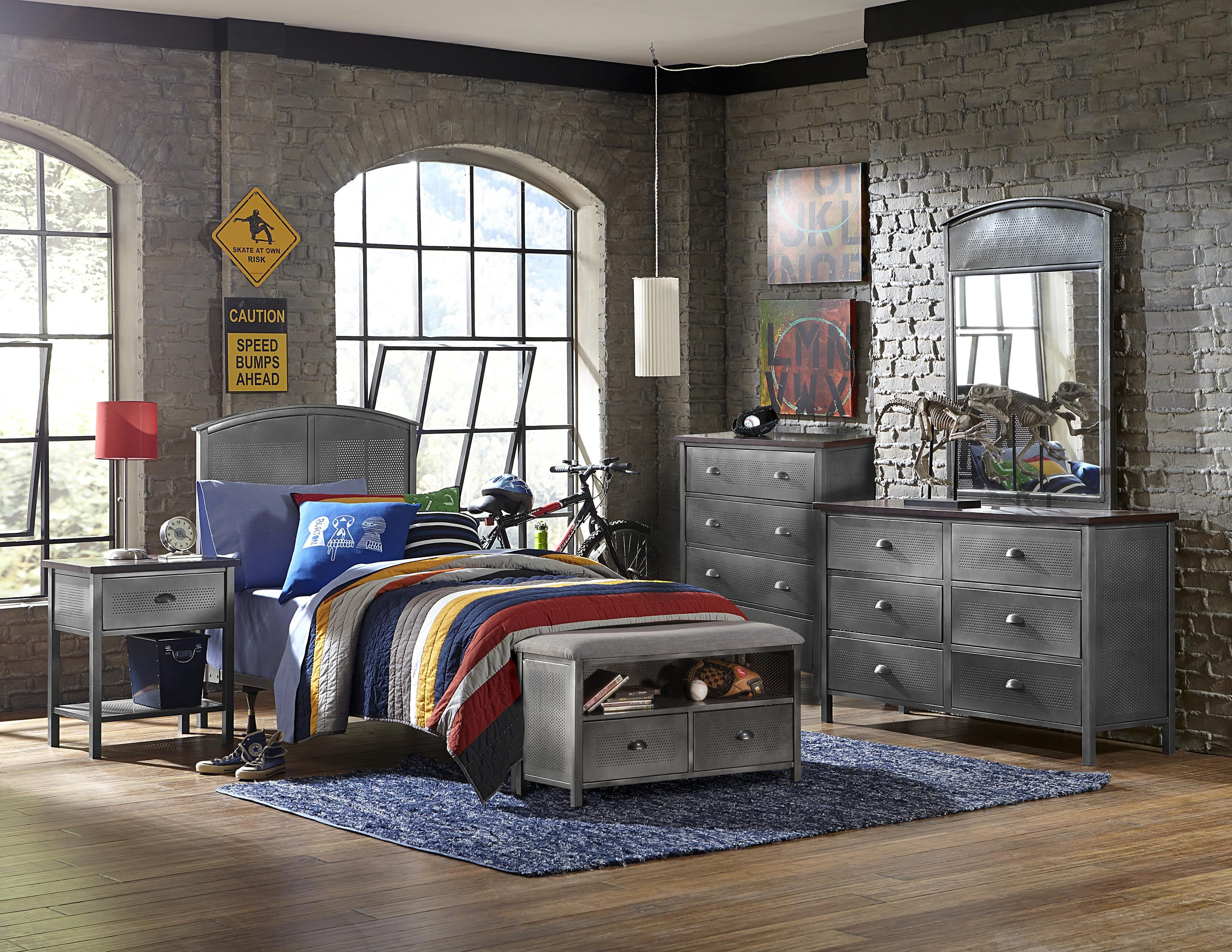 Urban Quarters Five Piece Panel Twin Bed Set with Bench by