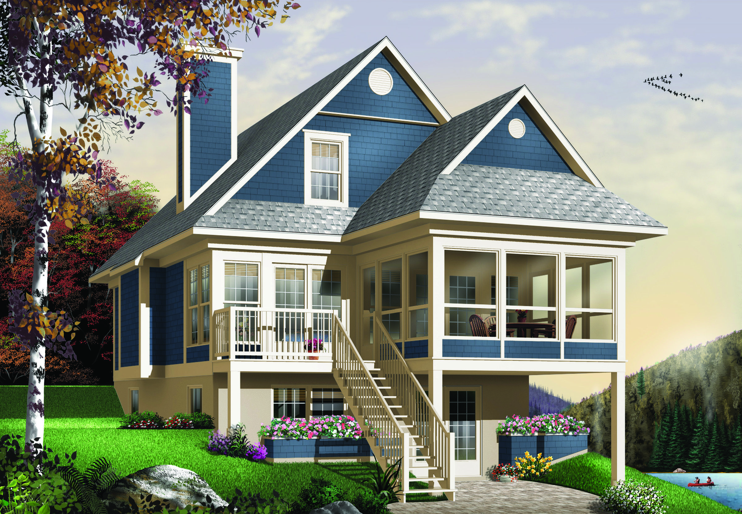 Plan 21571dr four seasons sloping lot cottage outdoor for Cottage house plans for narrow lots