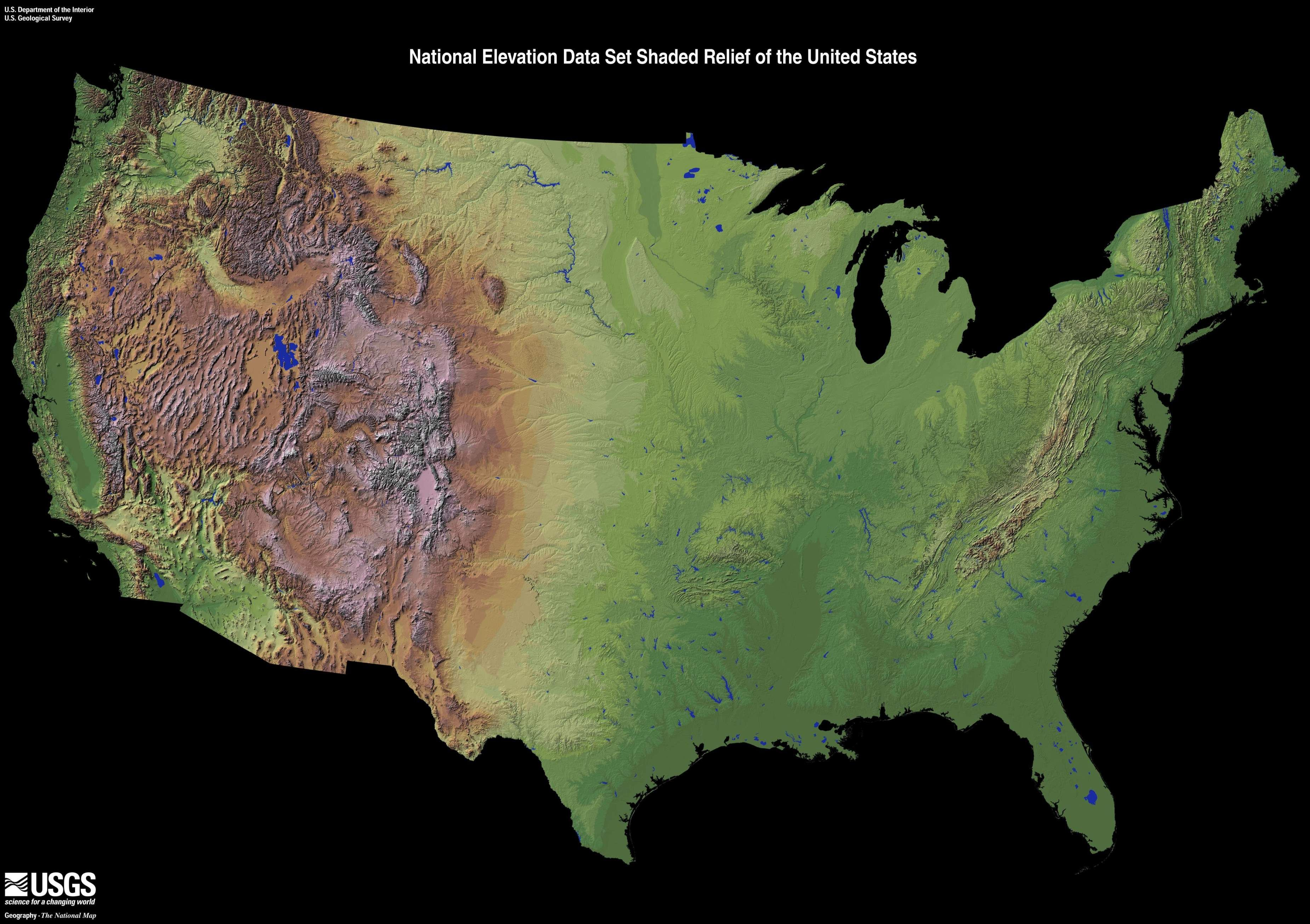 Zvdozt1 Jpg 3700 2610 Relief Map Usa Map Elevation Map