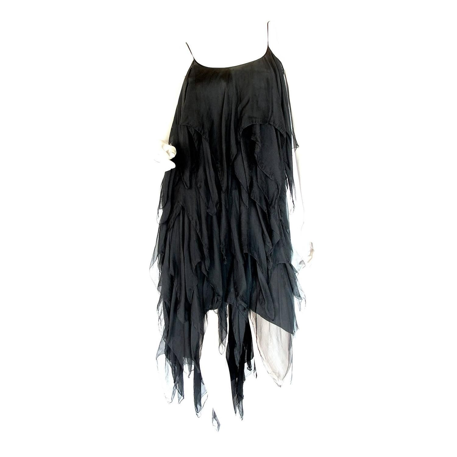 Chanel Black Silk Flapper Style Formal Cocktail Dress 1978 Pret-a ...