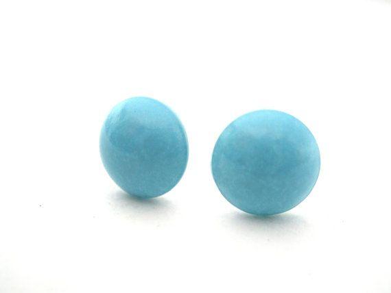 Turquoise Stud Earrings Blue Earrings. Pearl by mlejewelry on Etsy, $7.00