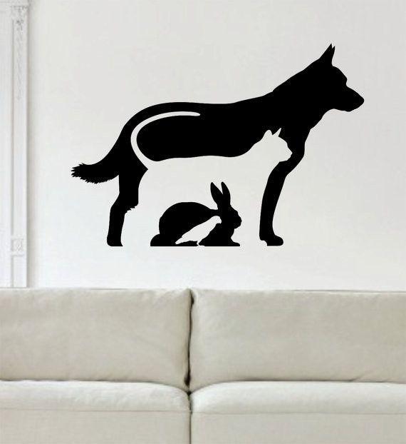 dog cat rabbit bird silhouette design animal decal sticker wall