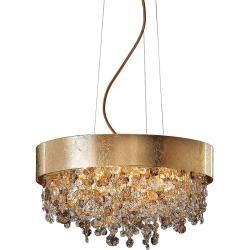 Photo of Masiero Ola S6 40 Led round pendant lamp, copper leaf, warm …